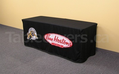 6 foot open back black, fitted style table cover with front custom printed