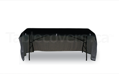 6 ft open back fitted black table cloth