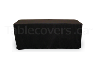 6 ft table cover open back, black, fitted style