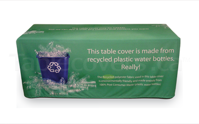 Custom printed 6 foot table cover with logo using 100% recycled water bottle fabric