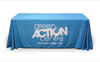 6 ft drape table cover with logo using 100% recycled water bottle fabric