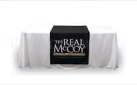 Custom Printed Logo Table Runner made from recycled water bottle fabric