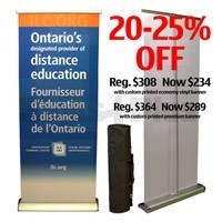 20 - 25% off Zephyr 32 roll up banner stand with printed banner kit