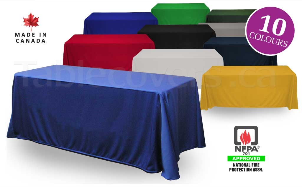 Custom made to order blank unprinted 6 foot drape trade show table cover with open or (optional) closed back