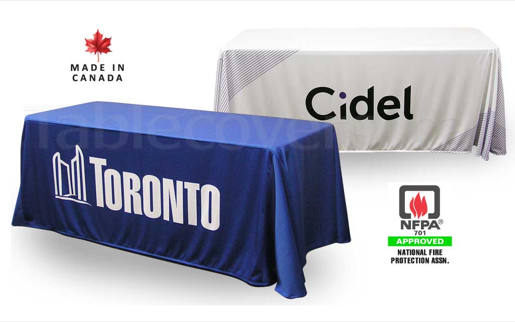 Custom 6 foot drape style trade show logo table cover with entire front custom printed (any colours & coverage), with open or (optional) closed back