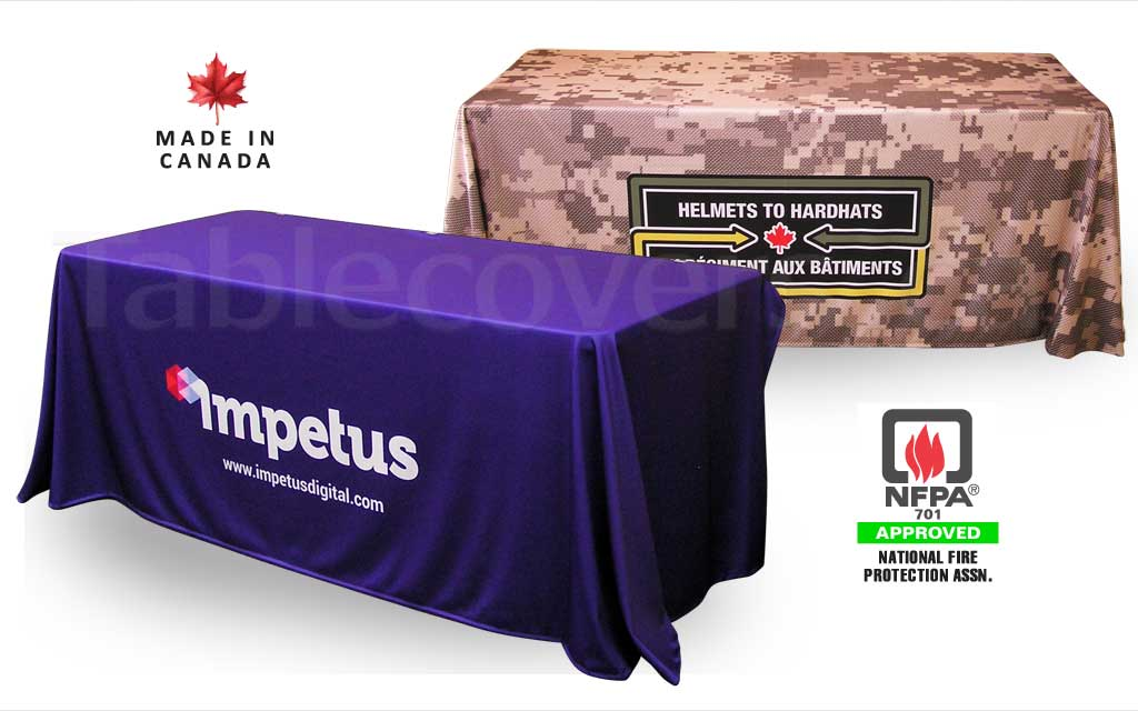 Custom 6 foot drape style trade show logo table cover with entire table cloth custom printed (any colours & coverage), with open or (optional) closed back