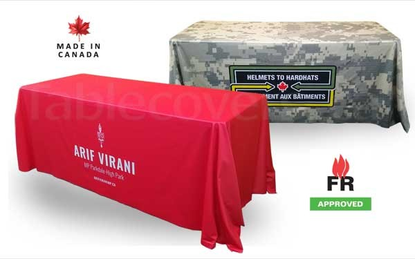 These 6 ft fire rated table cloths add a professional look to any trade show or conference display table