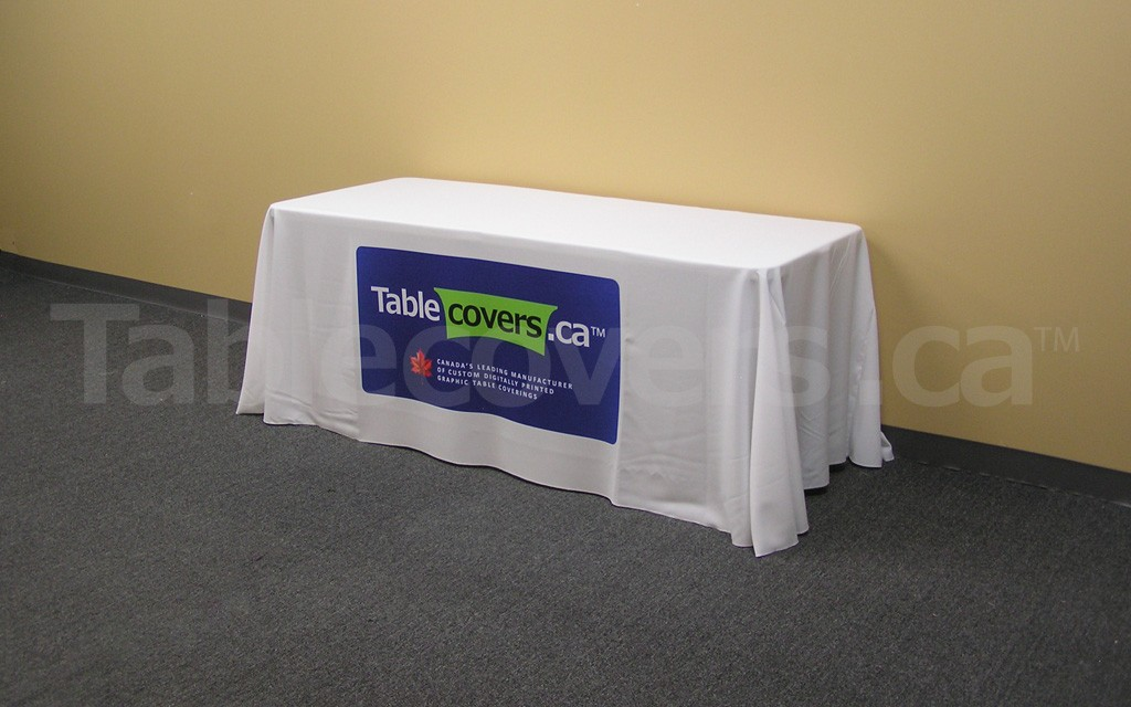 This 6 foot economy table throw with full colour dye sublimation looks great and fits your budget