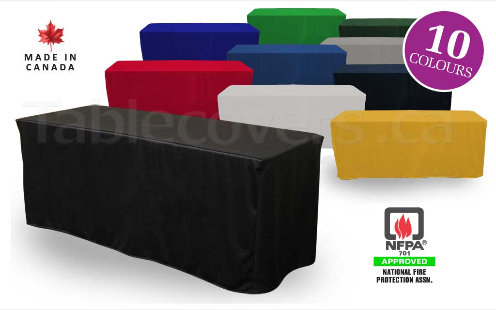 Custom made to order blank unprinted 6 foot fitted trade show table cover with open or (optional) closed back