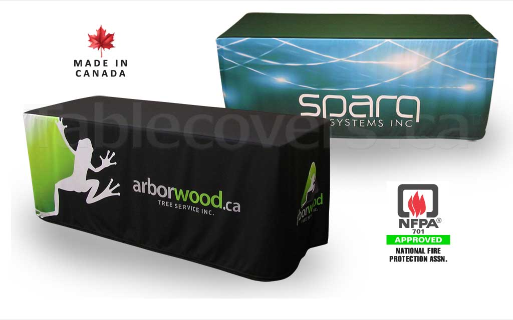 Custom 6 foot fitted style trade show logo table cover with entire front & sides custom printed (any colours & coverage), with open or (optional) closed back