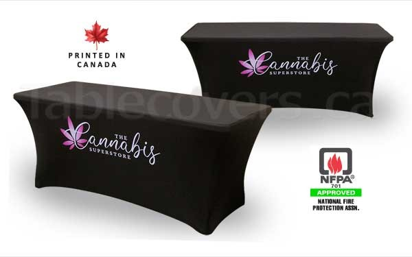 This 6' black fire resistant basic spandex stretch table cover displays a simple Pantone PMS or multi colour print on the front for an economical yet stylish table display