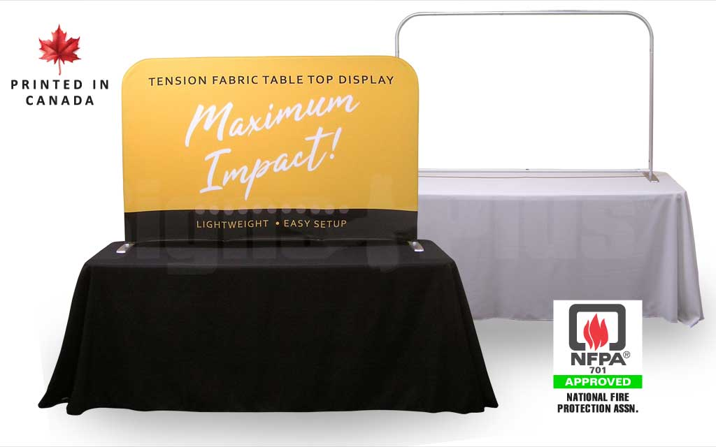 This tension fabric table top display has a clean, sleek look that really highlights your messaging on a 6 ft trade show table (table throw sold separately)