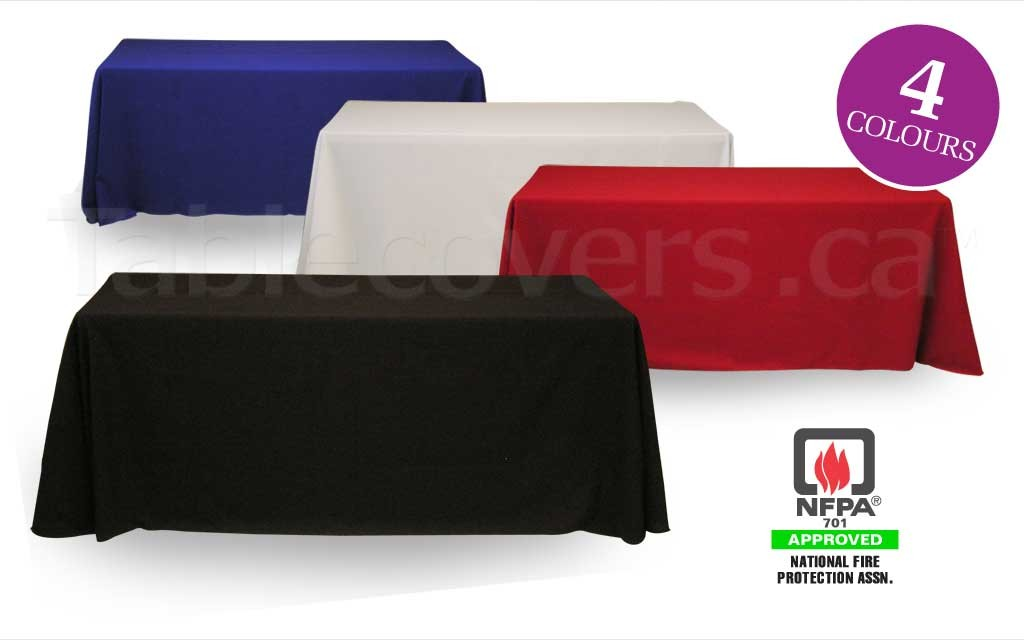 Good quality but low cost blank unprinted 6 foot table throws for folding trade show and display tables