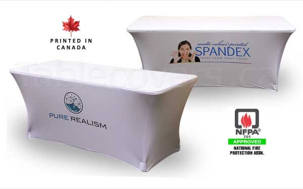 This 6' white flame retardant spandex stretch table cover displays a multi color / Pantone PMS colour dye sublimation print on the front for a budget friendly yet stylish table display