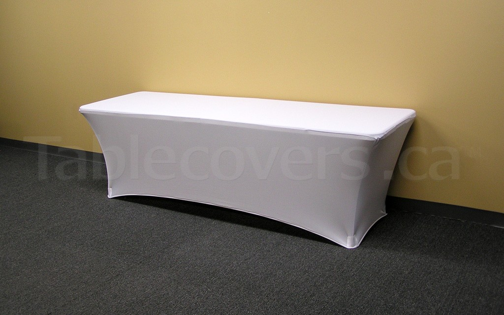 This plain unprinted 8' white flame retardant economy spandex stretch table cover is ideal for economical yet stylish table covering applications