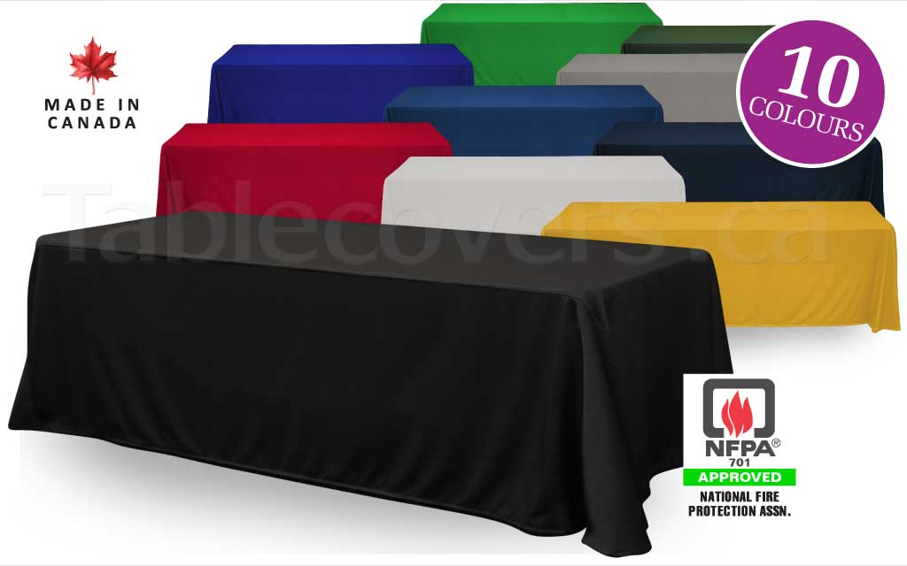 Custom made to order blank unprinted 8 foot drape trade show table cover with open or (optional) closed back
