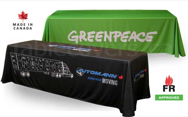 These 8 ft fire rated display table cloths add valuable branding and professional look to any table displays.