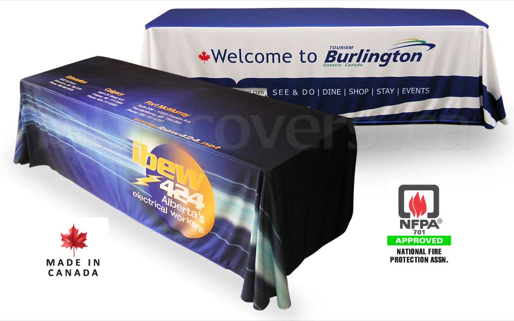 Custom 8 foot drape style trade show logo table cover with entire table cloth custom printed (any colours & coverage), with open or (optional) closed back