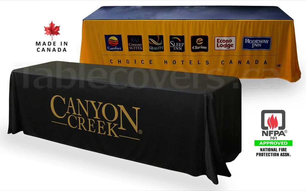 Custom 8 foot drape style trade show logo table cover with entire front custom printed (any colours & coverage), with open or (optional) closed back