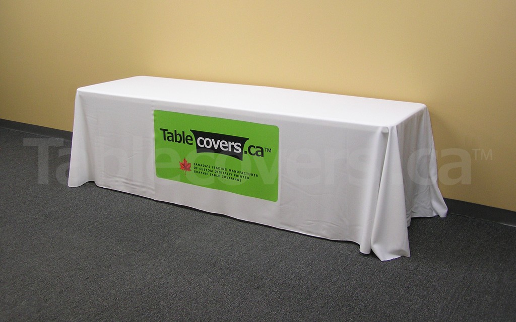 This 8 foot economy table throw with full colour dye sublimation looks great and fits your budget