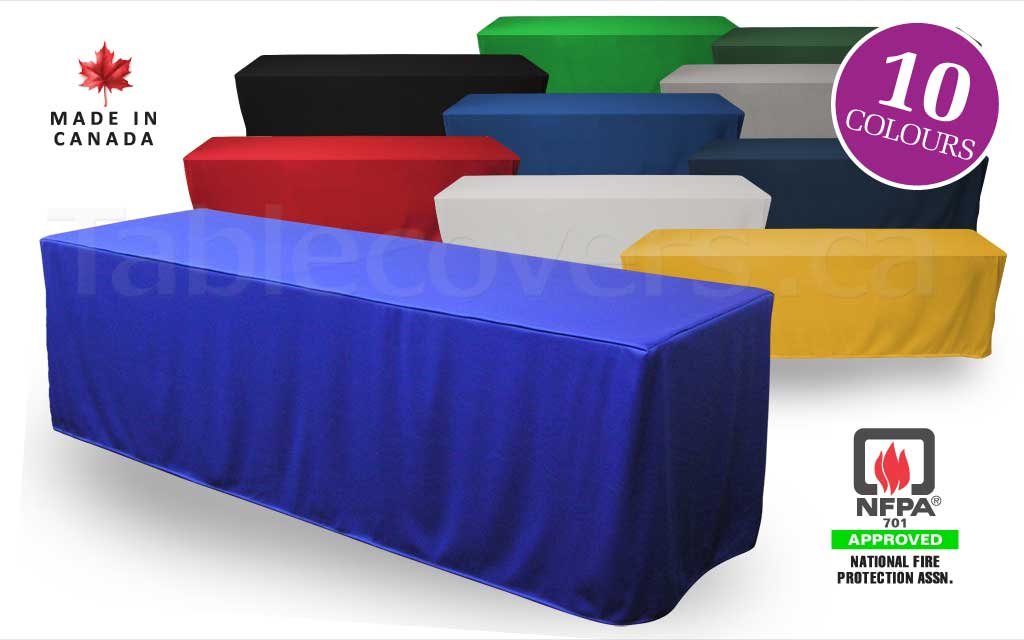 Custom made to order blank unprinted 8 foot fitted trade show table cover with open or (optional) closed back