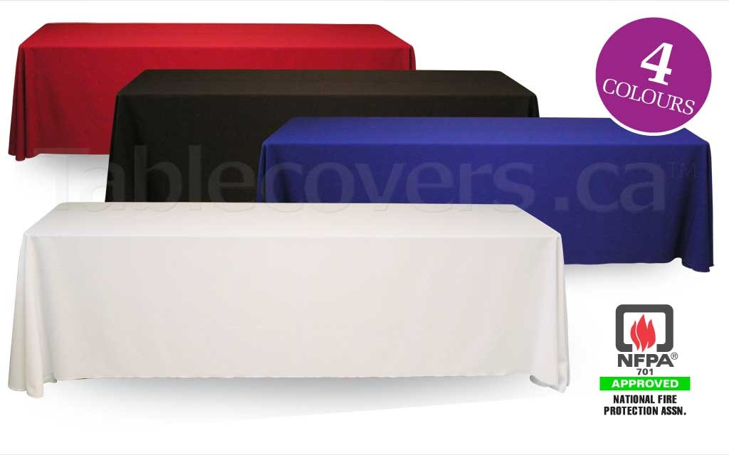 Good quality but low cost blank unprinted 8 foot table throws for folding trade show and display tables