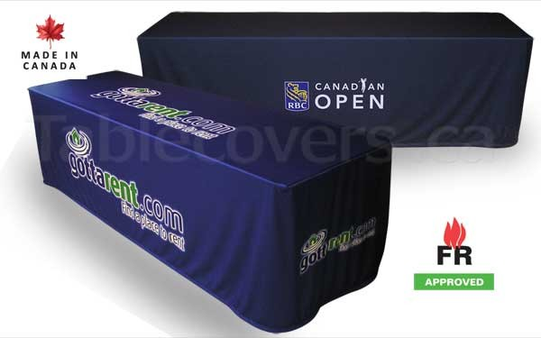 These FR approved tablecloths professionally cover 8 ft trade show or conference folding presentation tables