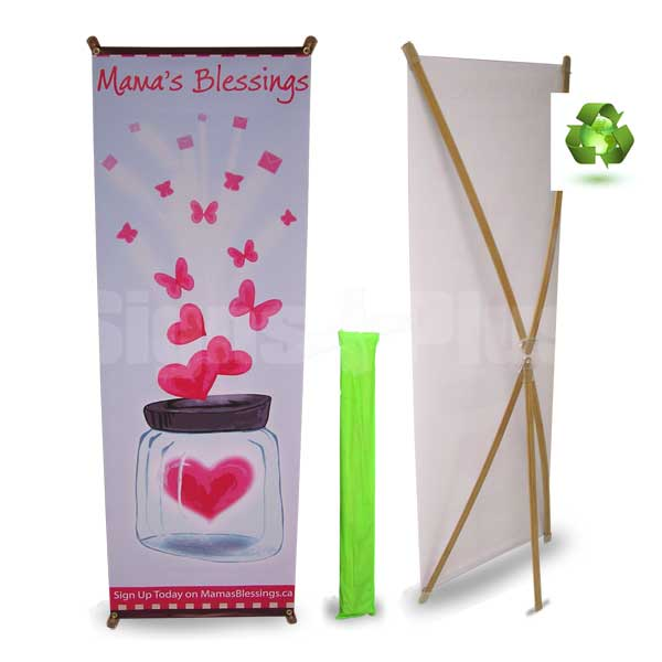 Eco-friendly spring back bamboo banner stand - and with our exclusive 100% recycled water bottle fabric banner (optional), it makes a real statement for the environment (premium ultra-flat banner shown)
