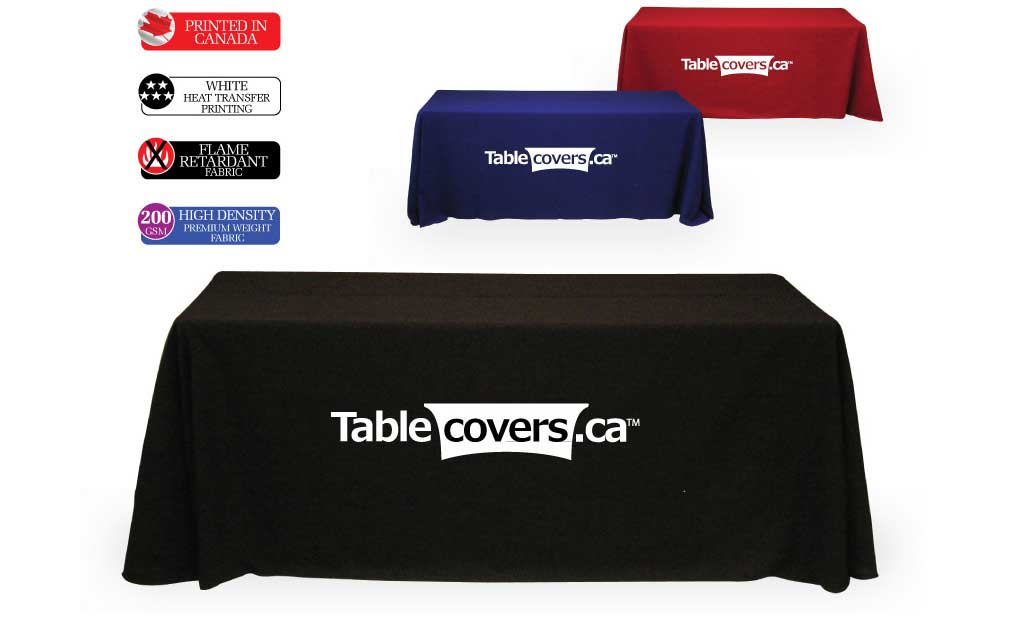 These effective 6 ft logo table cloths use black, royal blue or red fabric with your simple logo or text heat transfer printed in white