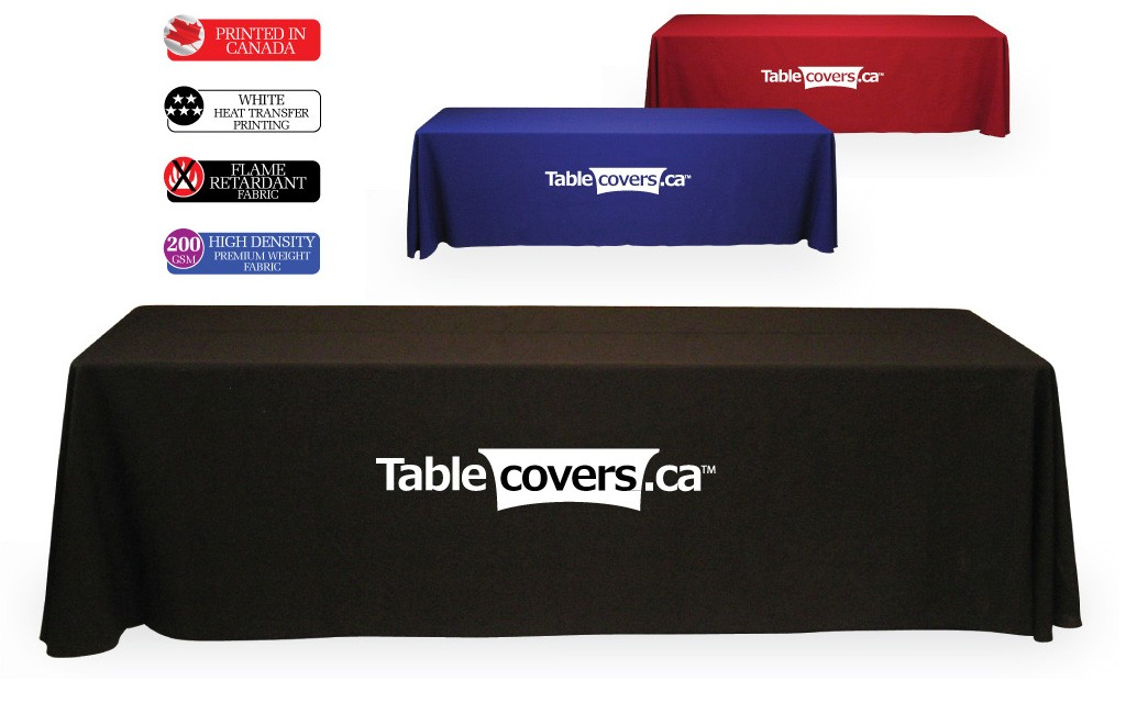 These effective 8 ft logo table cloths use black, royal blue or red fabric with your simple logo or text heat transfer printed in white