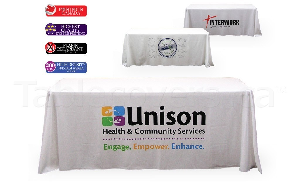Your logo will look great on this 6 foot white table throw with Pantone PMS / full colour dye sublimation print on the front