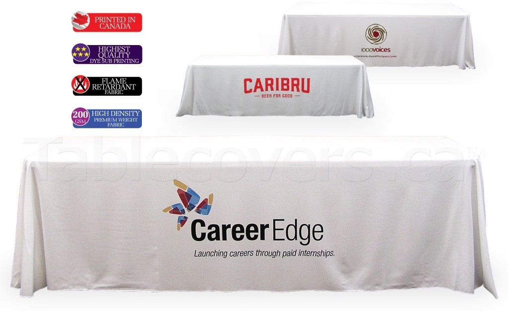 Your logo will look great on this 8 foot white table throw with Pantone PMS / full colour dye sublimation print on the front