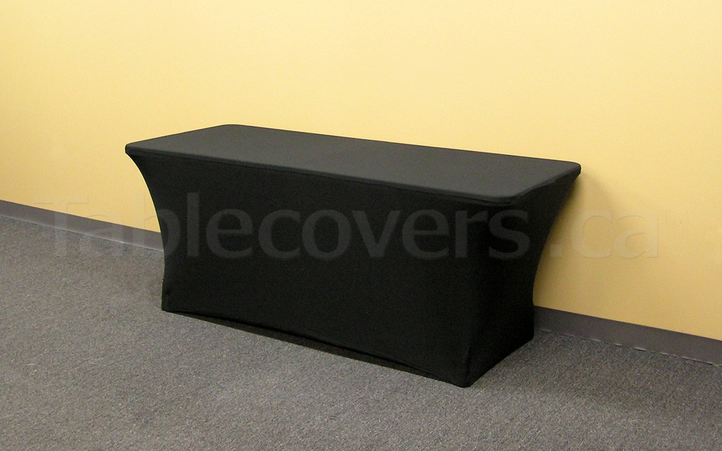 This plain unprinted 6' black fire resistant economy spandex stretch table cover is ideal for economical yet stylish table covering applications