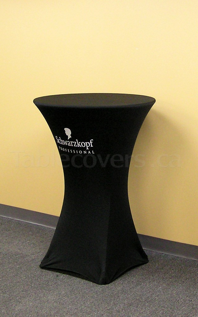 This 30 inch diameter round black fire resistant economy spandex stretch cocktail table cover displays a simple 1 colour white print on the front for economical yet stylish branding