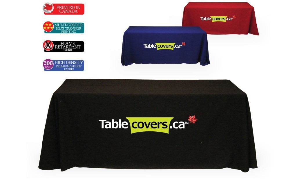 These effective table cloths use black, royal blue or red fabric with your logo printed in white and/or Pantone or multi-colours