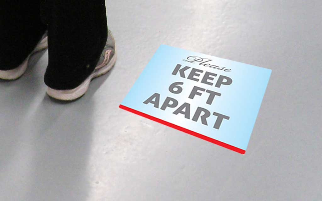 12 inch x 12 inch Floor Graphic Decal provides useful health and safety information right on the floor