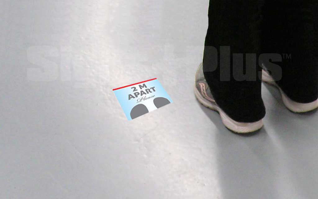 6 inch x 6 inch Floor Graphic Decal provides useful Covid-19 health and safety information right on the floor