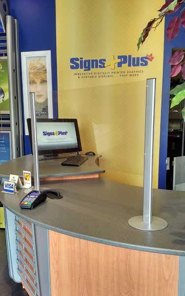 The counter shield clear counter barrier system is versatile and can be extended with additional panels and posts to suit any space (24 inch height x 32 inch wide with 8 inch full pass thru shown)