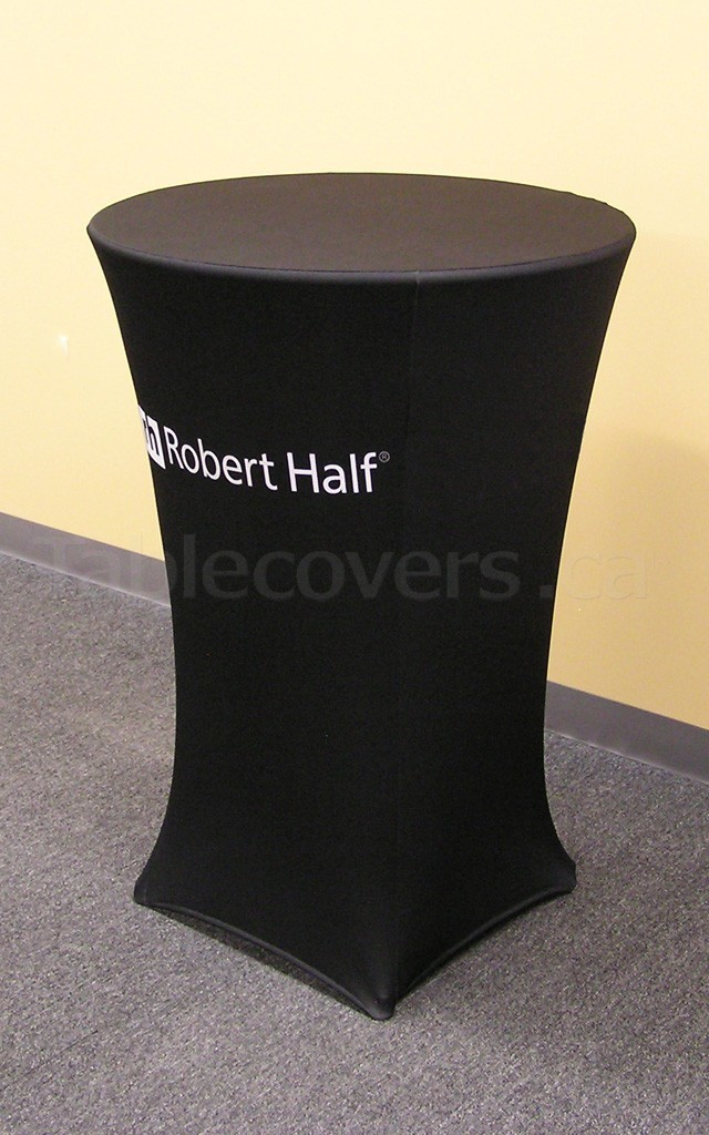 Stretch Fit spandex 30 inch diameter high boy cocktail table cover with custom printed logo and graphics all over the entire front panel of the cover