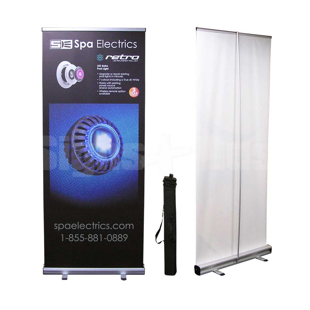 Econo 33 Kit includes the frame hardware, padded carrying bag and printed banner (shown with optional premium ultra flat banner)
