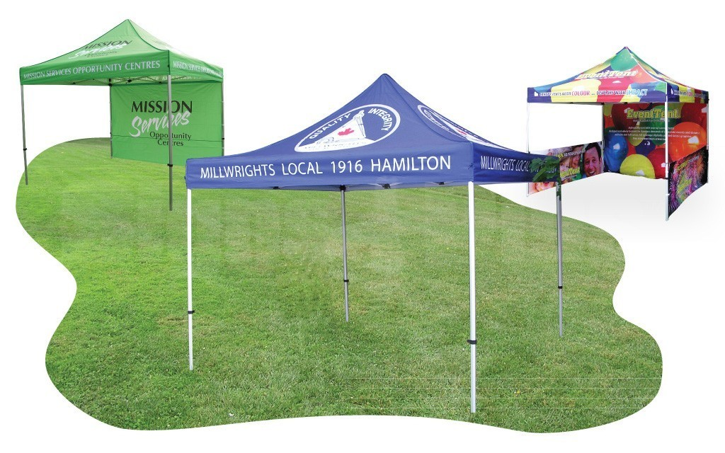 The 10 foot x 10 foot custom printed Event Tent stands out in any crowd