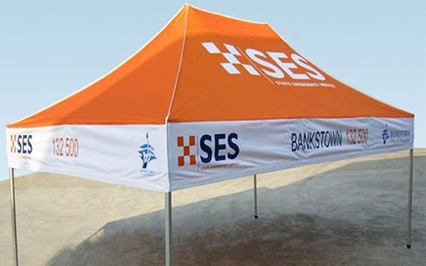 The 10 foot x 15 foot custom printed Event Tent stands out in any crowd