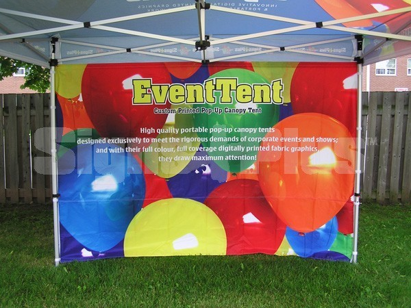 The Event Tent 10' custom printed full wall D/S provides great messaging space for your tent and is printed on both sides with any content you want