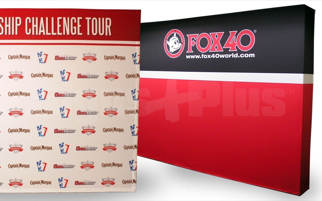 The FabPop 4x3 straight pop up tension fabric display is a great size for 10 foot wide exhibit spaces