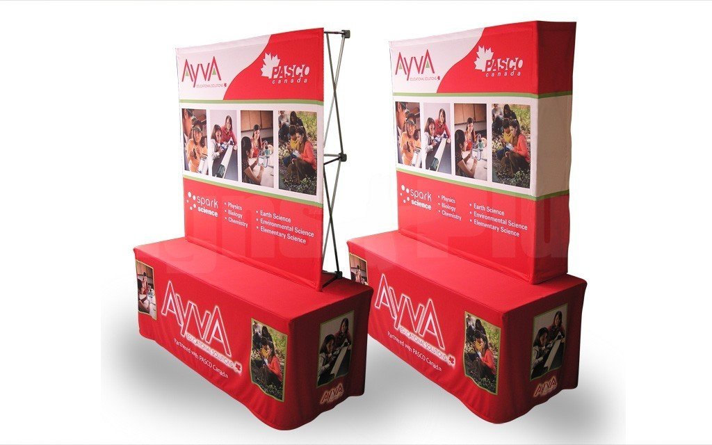 The FabPop 2x2 straight pop up tension fabric display is a great size for 6-8 foot tables