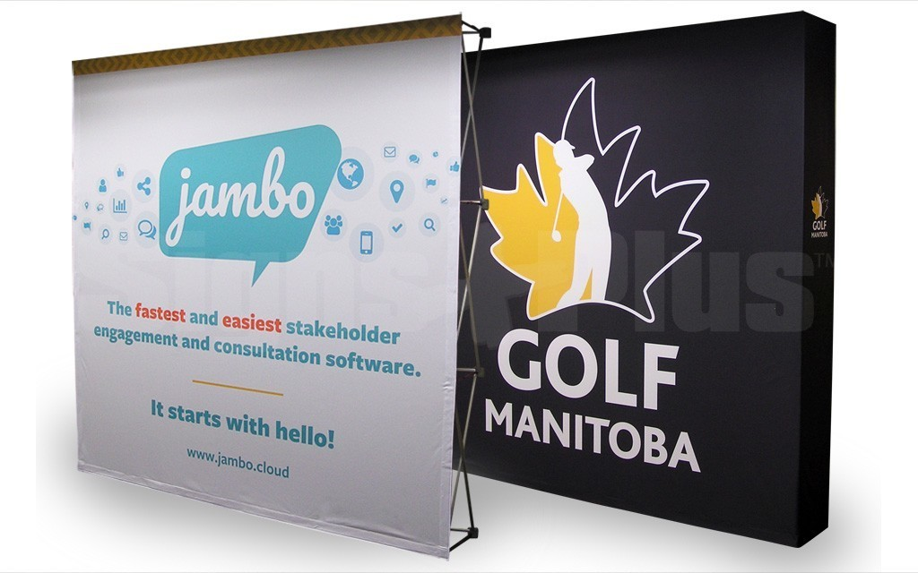 The FabPop 3x3 straight pop up tension fabric display is a great size for 8-10 foot wide exhibit spaces