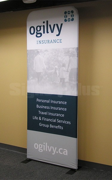 This tension fabric banner display has a clean, sleek look that really highlights your messaging