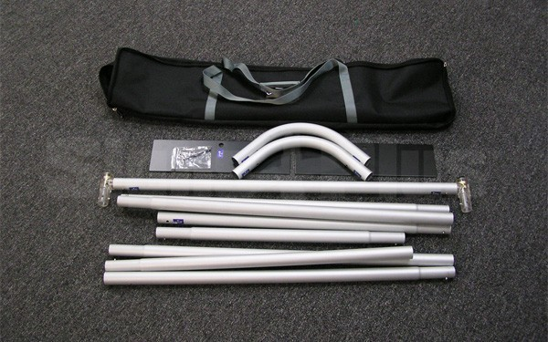 The frame hardware collapses down and fits in a small carry bag for easy transportation and storage
