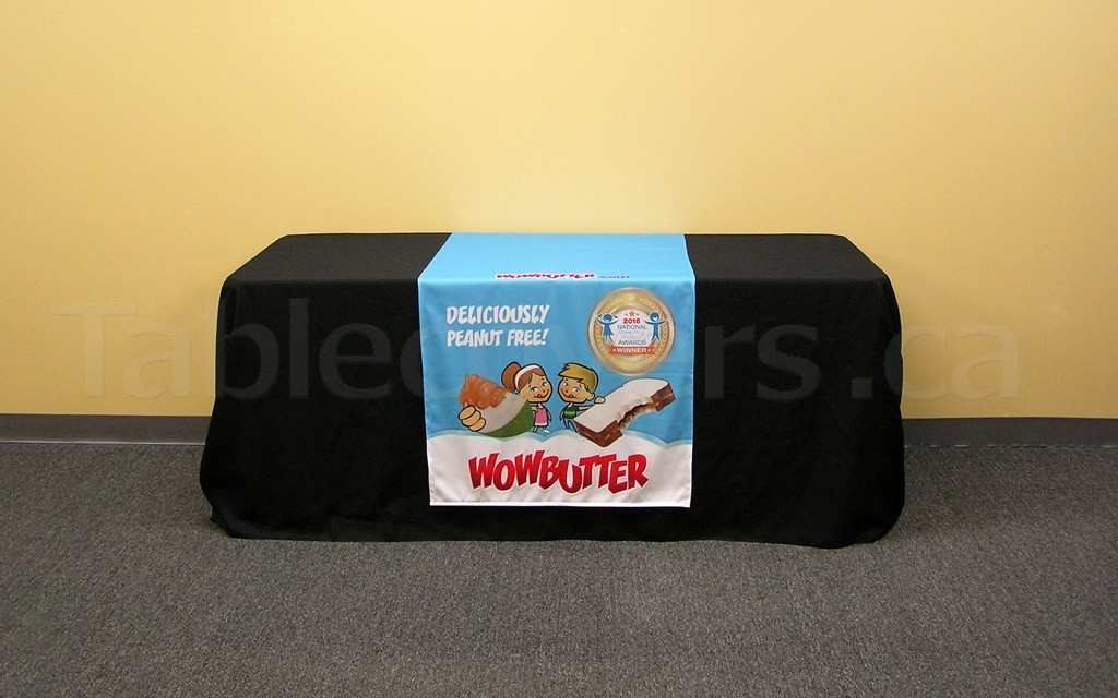 This 30 inch x 60 inch table runner with full colour printed logo and graphics adds