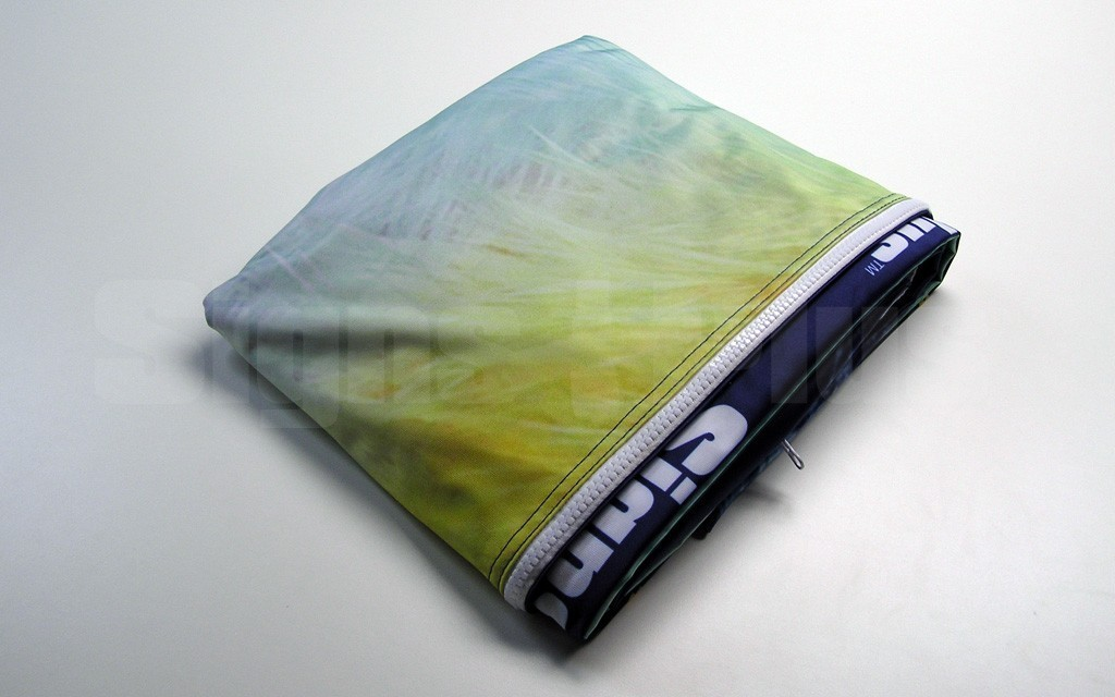 The dye sublimation custom printed spandex polyester fabric graphic folds to an incredibly compact size and weighs just 6.2 lbs